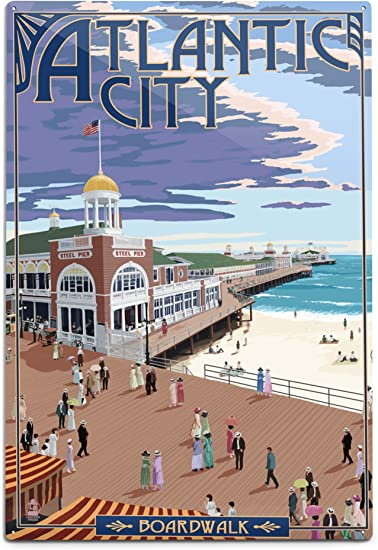 Atlantic City New Jersey Watercolor Skyline Wall Art Home Decor Poster UNFRAMED