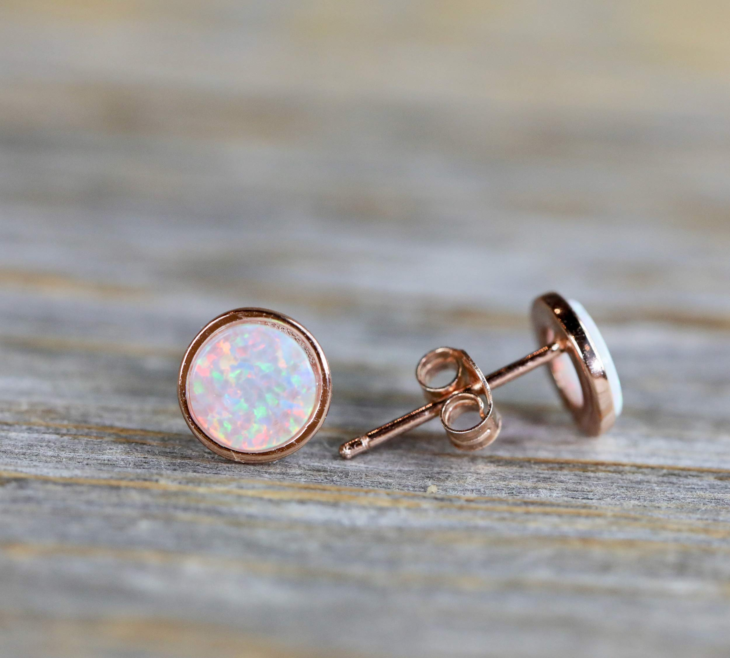 White Opal Stud Earring- 7mm-14k ROSE Gold Sterling Silver-Women's Jewelry- October Birthstone- Holiday Gift Idea