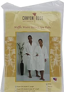 Canyon Rose Unisex Waffle Weave Spa Robe, White, S