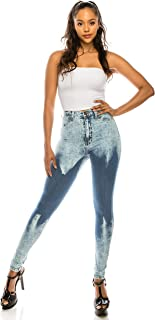Aphrodite High Waisted Jeans for Women - High Rise Waist Skinny Womens Acid Washed Jeans with Faux Front Pockets 4599 (Made in USA) Acid Blue 1
