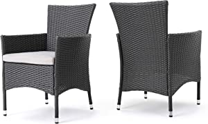 Christopher Knight Home Clementine Outdoor Wicker Dining Chairs (Set of 2), Grey
