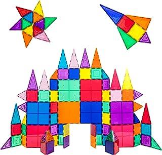 PicassoTiles 100 Piece Set 100pcs Magnet Building Tiles Clear Magnetic 3D Building Blocks Construction Playboards, Creativ...