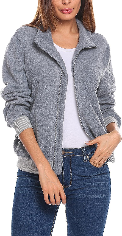 Zeagoo Women's Fleece Coat FullZip Stand Collar Biker Bomber Jacket