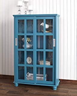 The Lakeside Collection Sliding Door Media Cabinet - Bookcase for Living Rooms, Entryways - Ocean Blue