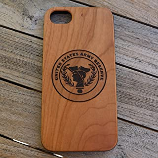 (CH7P) United States Army Reserve Logo Tribute Custom Engraved On A Cherry Wood Phone Case with Flexible TPU Sides for iPhone 6Plus, 7Plus and 8Plus (CH7P-ARMYRESERVE)