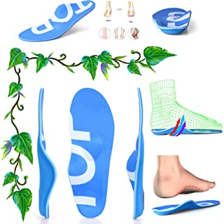 TOPSOLE Arch Support Insert Unisex Full-Length Arch-Supporting Insole for Relief of Heel Pain, Plantar Fasciitis, Flat Feet (Blue, Mens 4-4 1/2   Womens 6-6 1/2(9.06