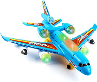 Toysery Airbus Airplane Toys for Kids - Bump and Go Action with 360 Degree Rotation - Toy Plane with Attractive LED Flashing Lights and Sounds for Boys & Girls