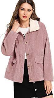 Romwe Womens Button Up Fur Collar Thin Lightweight Casual Corduroy Jacket Coat with Pockets
