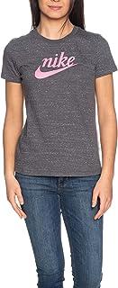 Nike Women's Varsity T-Shirt, Grey (Dark Grey/Magic Flamingo)