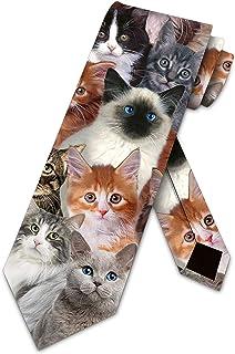 Cat Ties Mens Kitty Kat Meow Kitten Necktie by Three Rooker