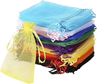 120Pcs Organza Bags 10cm x 15cm Mixed Colour with Drawstring, Jewellery Pouches Wedding Party Christmas Favour Gift Bags (...