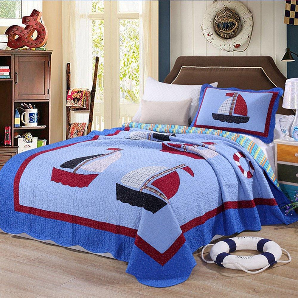 keke House® Colcha 100% algodón Niños Colcha patchwork Niño Colcha Manta infantil 180 x 220 cm con 1 x Almohada Single sofá (Edredón, 100 % algodón, Stil2, 180cm x 220cm: Amazon.es: Hogar