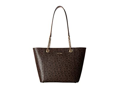 Calvin Klein Monogram East/West Tote (Brown/Khaki) Tote Handbags