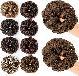 JessLab Hair Bun Scrunchie, 2 Pcs Messy Bun Scrunchie Natural Look Hair Bun Wrap Ponytail Hair Extension Hairpiece Hair Ac...