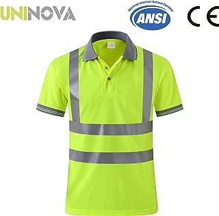 Uninova Safety Shirt High Visibility - Reflective Polo Shirt Short Sleeve for Men and Women - ANSI/ISEA Standards (Large, Short Sleeve)