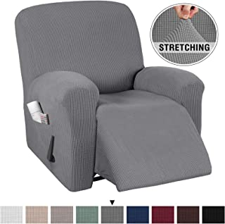 1 Piece High Stretch Recliner Slipcover with Pocket Rich Textured Lycra High Spandex Recliner Cover/Protector Small Check Pattern, with Elastic Loops Stay in Place (Recliner, Gray)