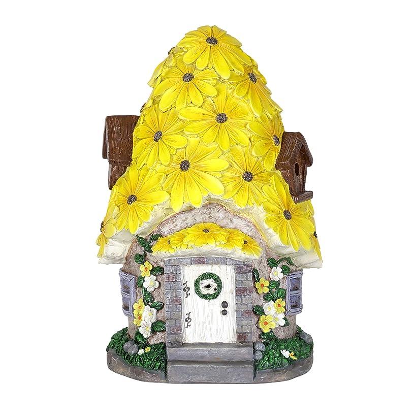 Exhart Solar Fairy House Statue with Sunflower Roof - Mini Fairy Cottage Resin Statue w/Solar Garden Lights - Sunflower Topped Fairy Hut - Fantasy Garden Home Decor, 9.45