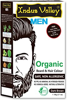 Indus Valley Organic Men Beard,Mustache & Hair Color Dark Brown For Safe & Non Allergenic (With Free Hair Spa Mask-15 ml I...