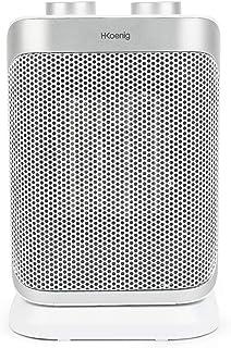 H.Koenig Warm8 - Mini Calefactor Eléctrico Cerámico, Bajo Consumo, 2 Niveles, 1500 W, Ideal para Baño, con Función Ventilador, Blanco