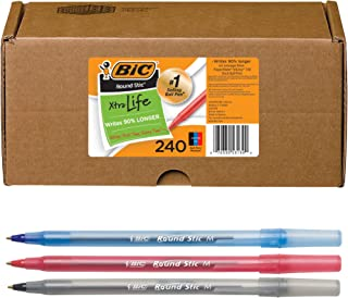BIC Round Stic Xtra Life Ballpoint Pen, Medium Point (1.0mm), Black/Red/Blue - Box of 240 Assorted Ball Pens