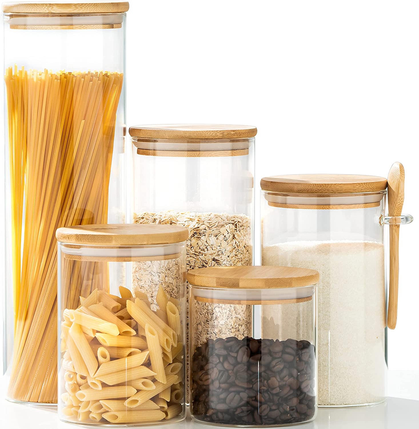 Buy ERISED Glass Jars Set of 9 Food Storage Containers Airtight ...