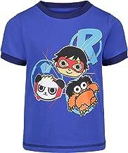 Ryan's World Pocket Watch Boy's Graphic Novelty Tee Shirt - Panda, Moe, Red Titan, Blue , 4