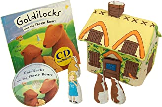 Pockets of Learning Goldilocks and The Three Bears Fabric Soft Play Set with Matching Pop-up Book and Read-Along CD for Toddlers and Children Cloth Activity Pretend Play Toy