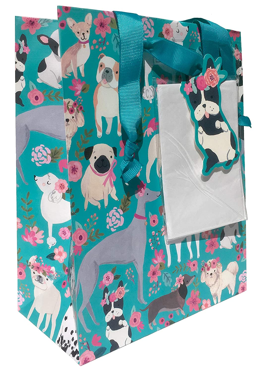Clementine Floral Head Wreaths Multi Dogs Gift Bag with Gift Tag Plus Tissue (302685), Med/Sm