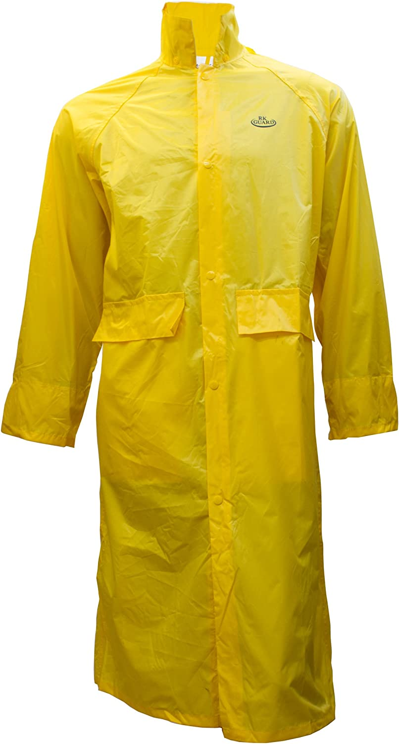 RK SAFETY RC-PP-YEL44 Yellow PVC Polyester Trench Rain Long Coat with Hoodie (Yellow, 4X)