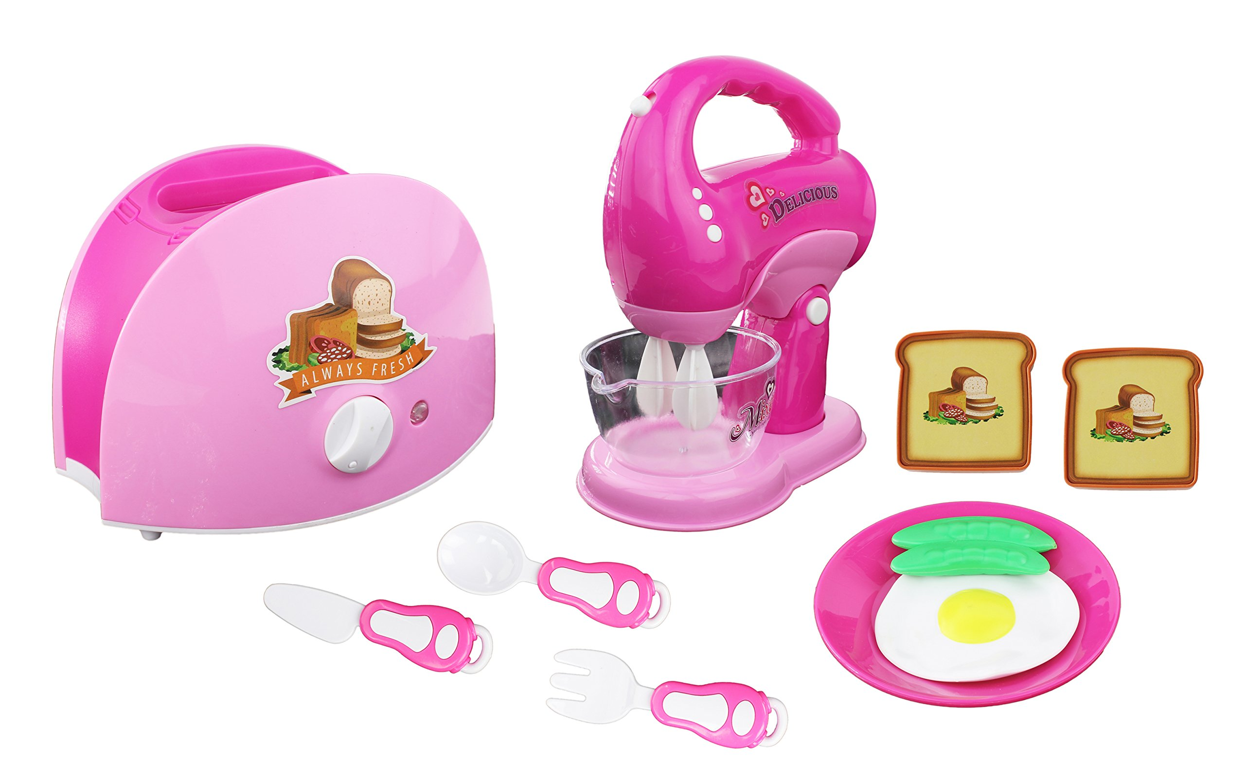 Amazon Com Mini Dream Kitchen Appliance Play Toy Set For Kids Assorted Kitchen Appliance Toys With Blender Toaster Food Play Kitchen Accessories Toys Games