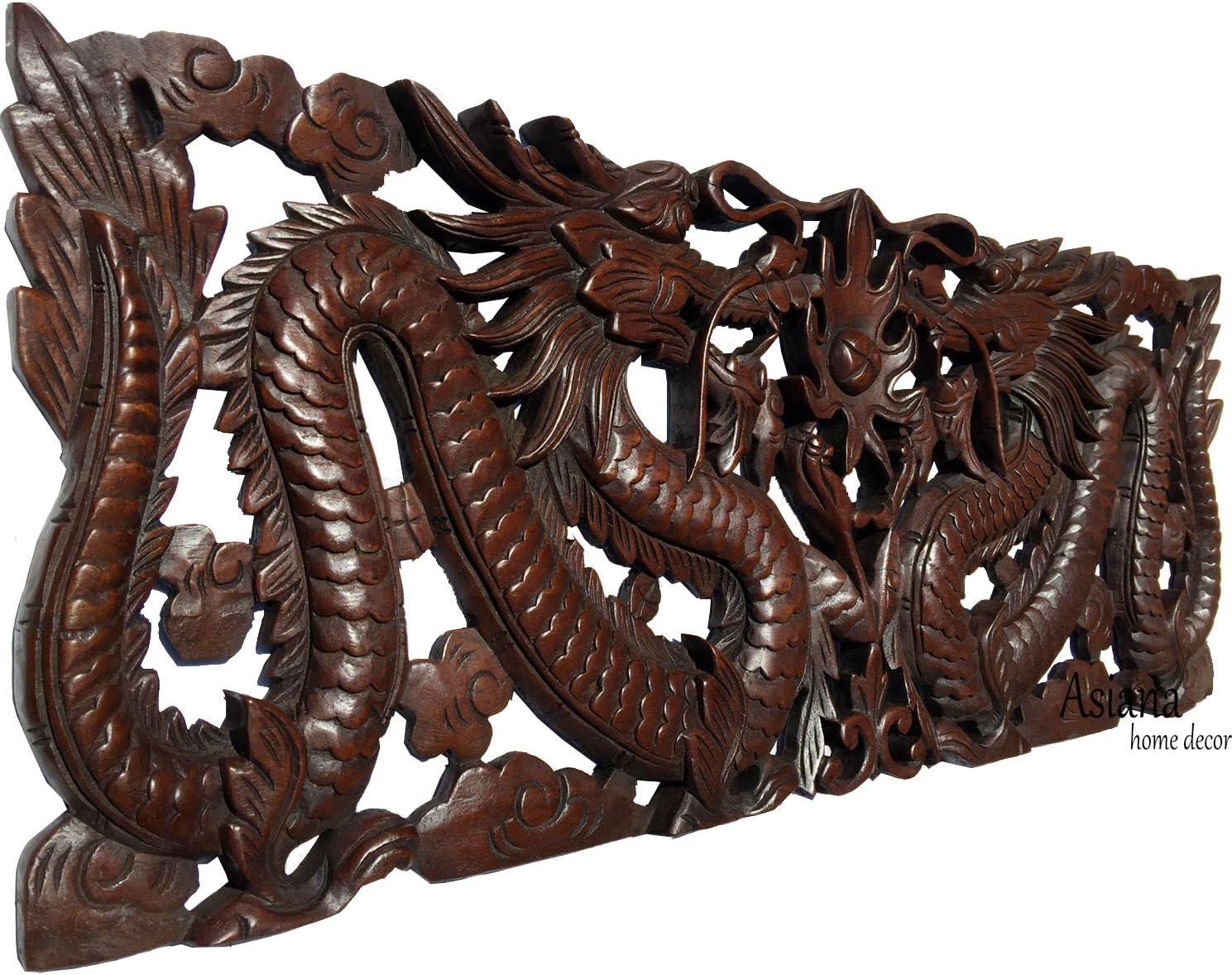 Oriental Folk Art Dragon Reclaimed Teak Wood Sculpture Hand Made Dragon Sculpture Driftwood Dragon Statue