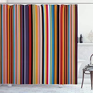 Ambesonne Abstract Shower Curtain, Vibrant Colored Stripes Vertical Pattern Funky Modern Tile Illustration, Cloth Fabric Bathroom Decor Set with Hooks, 70