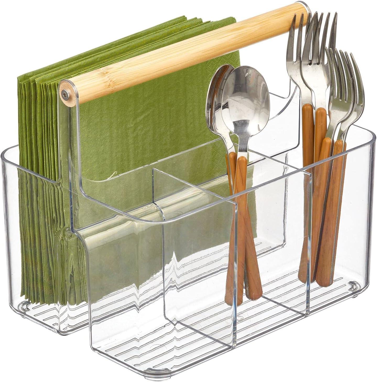 mDesign Portable Kitchen Caddy Tote El Max 77% OFF Paso Mall Storage Divided Organizer B