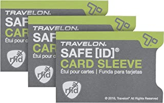 Travelon Safe Id Set of 3 RFID Blocking Sleeves, Gray, 3.4 x 2.3