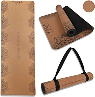 GYMBOPRO Cork Yoga Mat Eco Friendly Cork & Natural Rubber Mat Household Thickened Non-Slip Soft Durable Moisture Sweat Res...