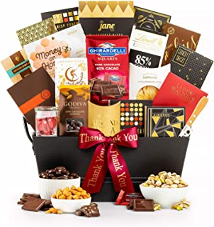GiftTree The Manhattan Thank You Gourmet Gift Basket   Godiva, Moonstruck, Lindt & Ghirardelli Chocolates, Toffee Caramel Popcorn, Almonds, Pecans & More.   Perfect Way To Show Your Appreciation