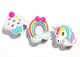 Unicorn and Rainbows Badge Reel Bundle - Retractable Badge Holder - Glitter Badge Reel - Cupcake Badge Holder - Nurse Badge Holder - Swivel Badge - Pediatrics Badge Reel - ID Badge Reel