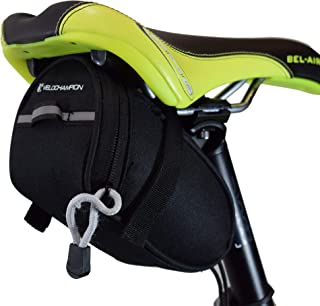 VeloChampion 1.3L/45 FL OZ Bike Seat Pack Black MTB Saddle Bag, Back Pouch, Repair Tools Pocket Pack, Reflective