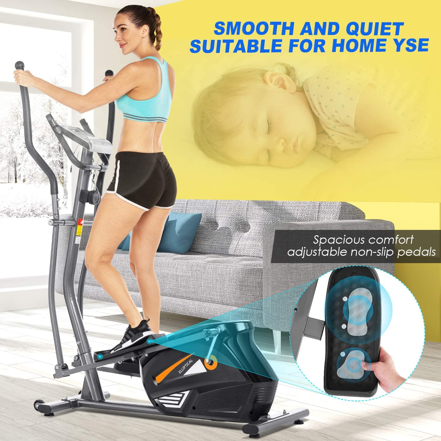 FUNMILY Eliptical Exercise Machine,Elliptical Cross Trainer for Home Use,Heavy-Duty/Gym Equipment for Indoor Workout /& Fitness with 10-Level Resistance/&Max User Weight:390lbs.