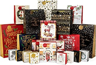 24 Count Gift Bags for Christmas Bulk Set includes 4 Jumbo 6 Large 6 Medium 8 Small for Wrapping Holiday Gifts