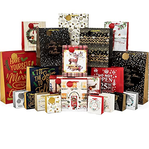 Christmas Large Gift Bags 12 Pack Quilted /& Stitched Series