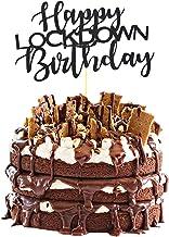 Happy Lockdown Birthday Cake Topper for Baby Boy Girl Man Women Quarantine Birthday Party Decorations Supplies-Black Glitter