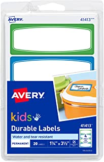 Avery 1.25 x 3.5 Inches Durable Labels for Kids Gear, Assorted, Pack of 20 (41413)