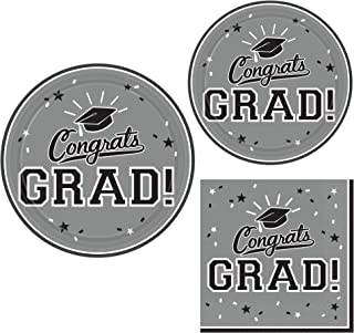Graduation Party Supply Pack for 18 People | Bundle Includes Paper Dinner & Dessert Plates & Napkins | Congrats Grad in Sc...
