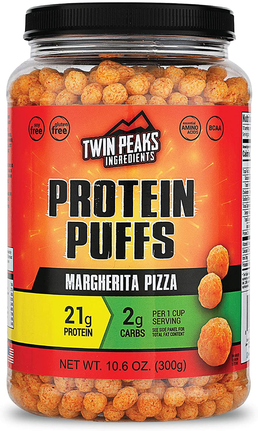 Twin Peaks Low Carb, Keto Friendly Protein Puffs, Margherita Pizza (300g, 21g Protein, 2g Carbs)