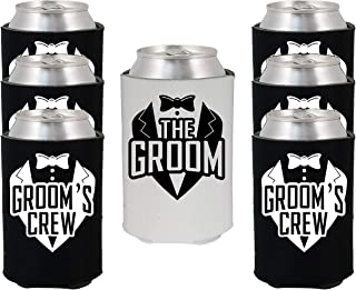 Shop4Ever The Groom and Groom's Crew Tuxedo Can Coolie Wedding Drink Coolers Coolies (Blk, 6 Pk, Crew Tux)