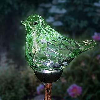 Exhart Solar Green Hand-Blown Glass Bird Yard Stakes -Bird Garden Stake w/Solar LED Lights in Spiral Bronze Finial Design - Bird Metal Stakes, Bird Decor, Garden Art Bird Ornaments, 7
