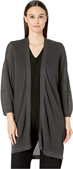 Organic Linen Cotton Bluson Sleeve Long Cardigan