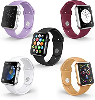 La Zuzzi Bands Compatible with Apple Watch - Silicone Strap for Series 5/4/3/2/1 - Accessories Pack Includes 5 Color Sports Wristbands (Black, White, Lilac, Walnut, Wine Red, 42mm-44mm, M | L)