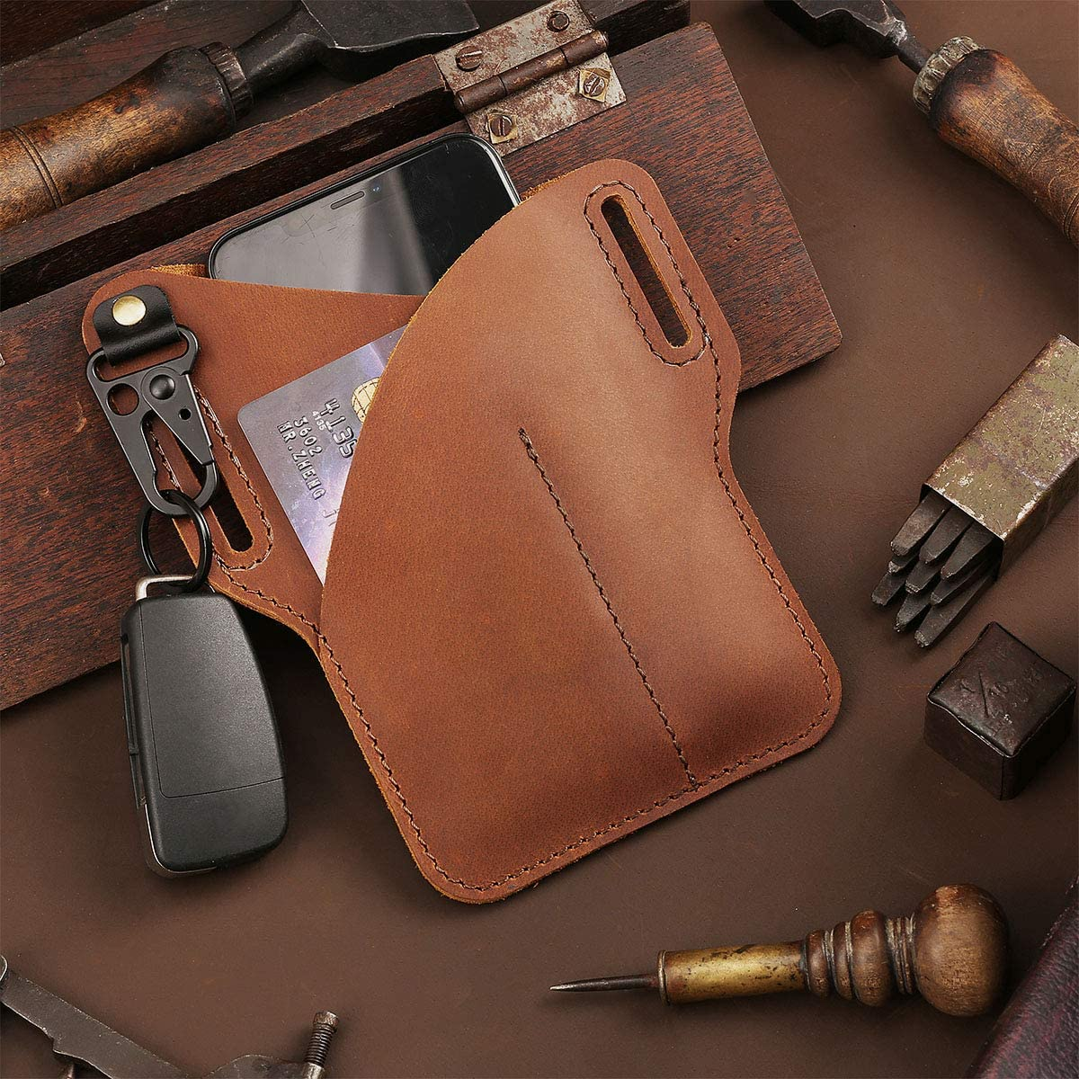 EASYANT Leather Phone Holster for Men Belt Loop with Key Holder Waist Card Bag Phone Holsters for Cell Phone